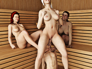 Three voluptuous women make a man pleasure them in - Picture 3