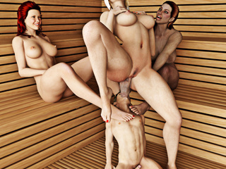Three voluptuous women make a man pleasure them in - Picture 4