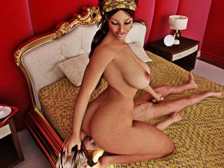 Big breasted brunette makes her man slaves eat her - Picture 4