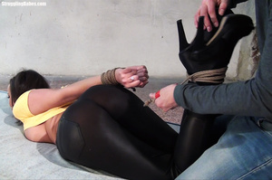 Busty brunette in yellow top and black pants gagged with tits pinched and squeezed - XXXonXXX - Pic 6