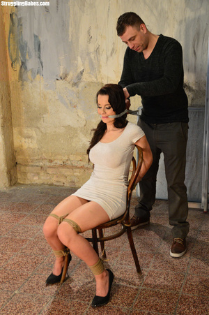 Busty dark hair cutie in white dress with hairy cunt chair tied with tits squeezed - XXXonXXX - Pic 3
