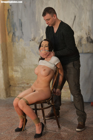 Busty dark hair cutie in white dress with hairy cunt chair tied with tits squeezed - XXXonXXX - Pic 8