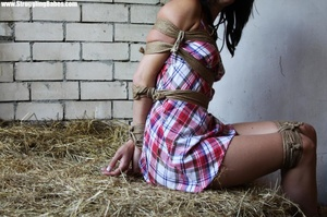 Brunette beauty in checkered dress roped, gagged and hog tied in barn - XXXonXXX - Pic 3