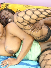 Fat ebony shows her large boobs and lusty pussy wearing - Picture 15