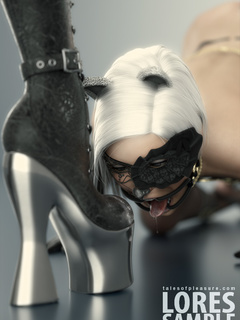 Masked blonde toon slave in cat's ears licking her - Picture 2