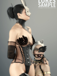 Masked blonde toon slave in cat's ears licking her - Picture 3