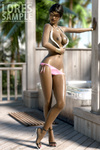 Ebony toon beauty posing in pink bikini and sunglasses and nude