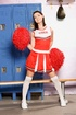 Cheerleader uniform dressed brunette ladyboy flashing butt and dick while