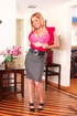 High heeled blonde chick slowly wiggles out of pink underwear and exposing