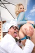 Blue fishnet blonde gets serviced by a hung chef