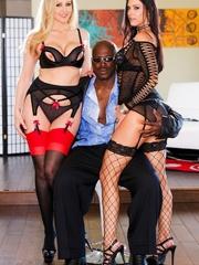 Two slutty MILFs in black posing with a hung black - XXXonXXX - Pic 9