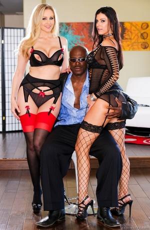 Two slutty MILFs in black posing with a hung black stud - XXXonXXX - Pic 9