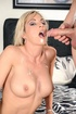 Big boobied blonde with brown eyes enjoys deep cunt pounding on the bed