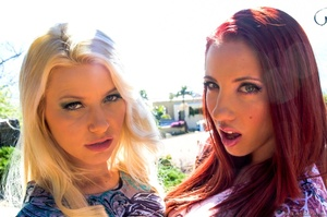Blonde and her redhead gal showing their - XXX Dessert - Picture 3