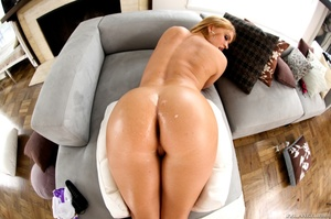 Blue-eyed blonde gets her phat booty covered in cum - XXXonXXX - Pic 14