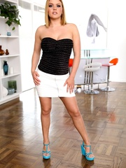 Blonde in a tight white skirt shows off her big - XXXonXXX - Pic 4