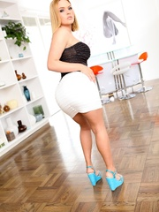 Blonde in a tight white skirt shows off her big - XXXonXXX - Pic 9