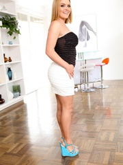 Blonde in a tight white skirt shows off her big - XXXonXXX - Pic 13