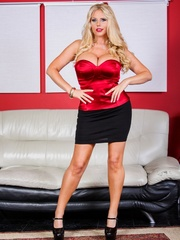 Black skirt and red top blonde domme posing and - XXXonXXX - Pic 1