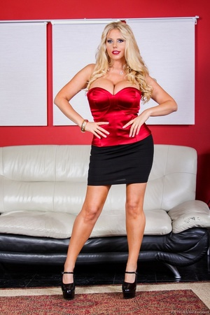 Black skirt and red top blonde domme posing and looking busty - XXXonXXX - Pic 1