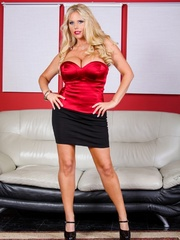 Black skirt and red top blonde domme posing and - XXXonXXX - Pic 3