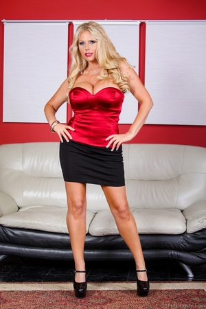 Black skirt and red top blonde domme posing and looking busty - XXXonXXX - Pic 3