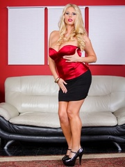 Black skirt and red top blonde domme posing and - XXXonXXX - Pic 7