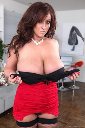Exotic brunette with saggy tits taking off her red-and-black get-up - XXXonXXX - Pic 2