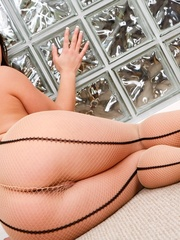 Brunette in fishnet stockings gets ass licked and - XXXonXXX - Pic 2