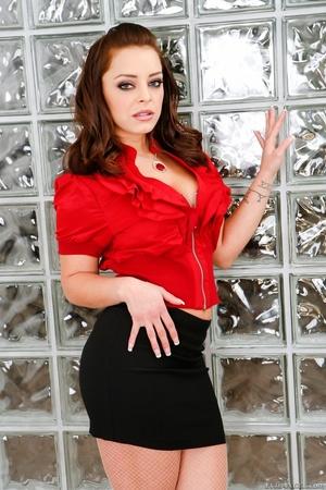 Babe takes off red shirt and black skirt to show pantyhose - XXXonXXX - Pic 1