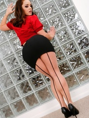 Babe takes off red shirt and black skirt to show - XXXonXXX - Pic 2