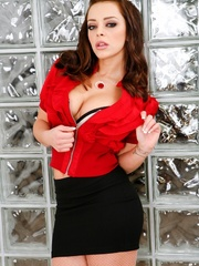Babe takes off red shirt and black skirt to show - XXXonXXX - Pic 3