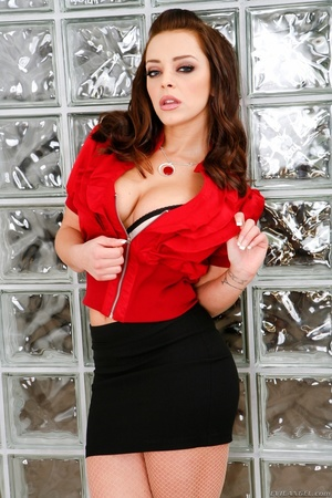Babe takes off red shirt and black skirt to show pantyhose - XXXonXXX - Pic 3