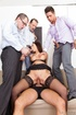 DP is no problem for this stocking-clad dame as she takes on three horny