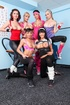 A set of six dykes in workout gear bust out sex toys for outstanding girl-on-girl