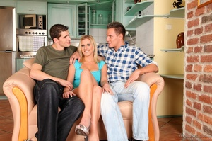 Two bi guys get a cute blonde in the mood to fool around. - XXXonXXX - Pic 13
