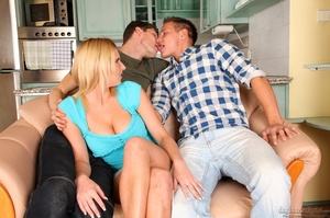 Two bi guys get a cute blonde in the mood to fool around. - XXXonXXX - Pic 14