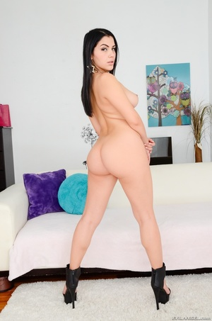 Gorgeous babes with sizzling hot bodies reveal their alluring tits and indulging pussies in different positions as they pose naked wearing their black high heels on a white couch. - XXXonXXX - Pic 12