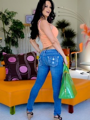 A brunette slut in jeans shows off her hot body - XXXonXXX - Pic 9