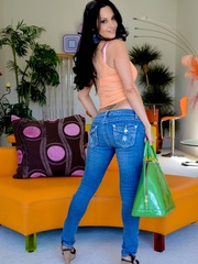 A brunette slut in jeans shows off her hot body - XXXonXXX - Pic 11