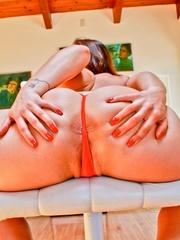 A hot slut in pink panties and big tits sticks a - XXXonXXX - Pic 10