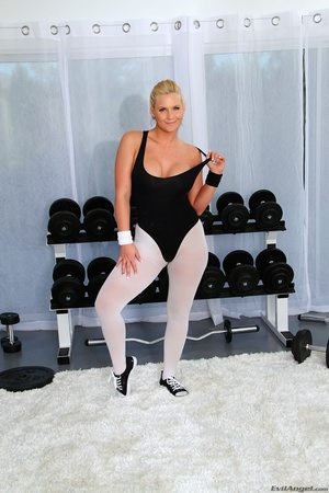 These hot blonde whores, in workout gear, show off their hot bodies - XXXonXXX - Pic 7