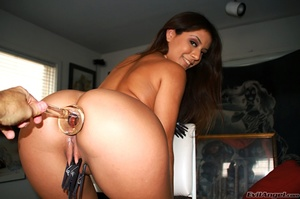 Nasty tanned brunette with perky tits and nice ass puts clothepins on her tits and pussy lips - XXXonXXX - Pic 14