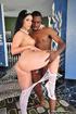 Skinny brunette princess in silver bikini gets her white stockings ripped