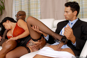 Cuckold husband is made to watch as wife fucks a big black cock on the couch and makes him taste cum - XXXonXXX - Pic 4