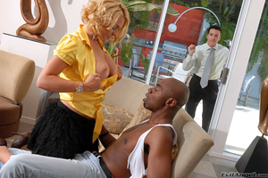 Pretty blonde wife with big tits loves to get fucked by a black construction guy while husbands watches - XXXonXXX - Pic 4