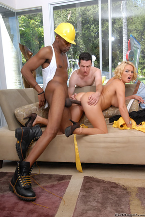 Pretty blonde wife with big tits loves to get fucked by a black construction guy while husbands watches - XXXonXXX - Pic 11