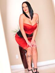 Classy brunette with arm tattoo in sexy dress and - XXXonXXX - Pic 1