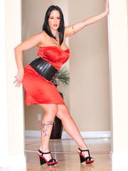 Classy brunette with arm tattoo in sexy dress and - XXXonXXX - Pic 3