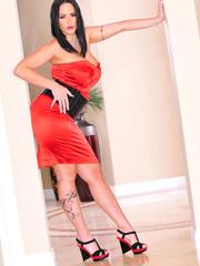 Classy brunette with arm tattoo in sexy dress and - XXXonXXX - Pic 4